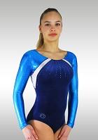 Turnpakje Lange Mouw K717 Donker Blauw Velours Wit Turquoise Wetlook Glitter Pailletten