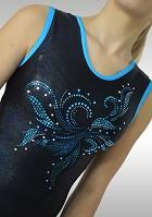 Turnpakje V698 mouwloos Zwart wetlook Turquoise Glitter