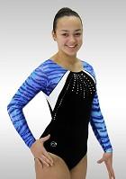 Turnpakje K733  zwart Velours blauw Wetlook Glitter