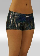 Hotpants zwart wetlook glitter W758459
