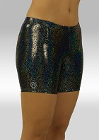 Legging kort wetlook zwart glitter W756459
