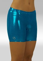 Legging kort turquoise wetlook O756tu