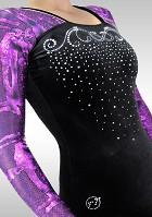 Turnpakje K781 Lange Mouw zwart velours aubergine wetlook glitters