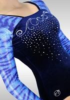 Turnpakje K782 Lange Mouw blauw velours glitters